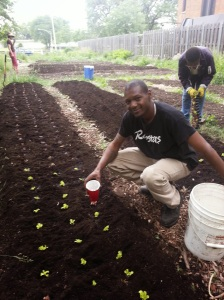 Saani Tucker is watering some newly transplanted lettuce